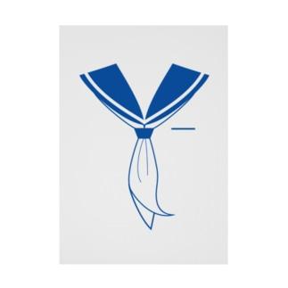 セーラー服 青 Stickable tarpaulin