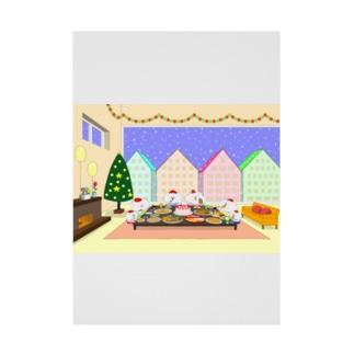 クリスマスパーティーをする猫家族と友達 Stickable tarpaulin