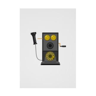 レトロな片耳受話器の片耳受話器の壁掛け電話(デルビル磁石式電話機)のイラスト  黒 受話器外しver Stickable tarpaulin