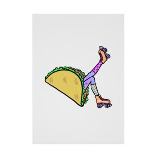 タコス ローラースケート ガール  TACOS ROLLER GIRL DOT 水玉 ドット Tacos Rollerskate Rainbow Stickable Poster
