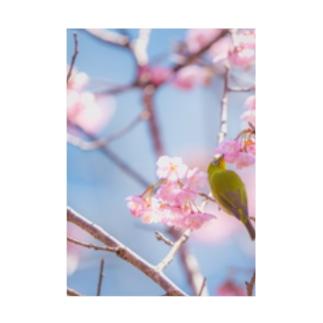 桜とメジロ Stickable poster