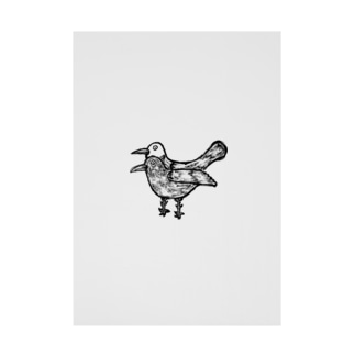 疫病退散!版画風のヨゲンノトリのイラスト Stickable tarpaulin