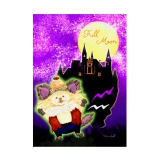 《ハロウィン》03*狼ちわわ男*紫背景 Stickable poster