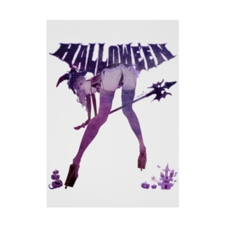 loveclonesのHALLOWE'EN WITCH 彼女はウィッチ パープル Stickable tarpaulin