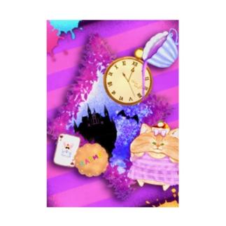 《ハロウィン》04*チェシャきじとら猫*紫背景ver. Stickable tarpaulin