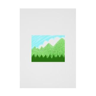 青空と雲と青い山脈ズ Stickable tarpaulin