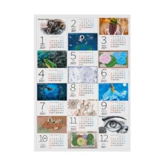 カレンダー2021(しろ) Stickable poster