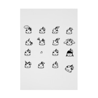 K4(けーよん)のおやじりんご図鑑モノクロVer. Stickable poster