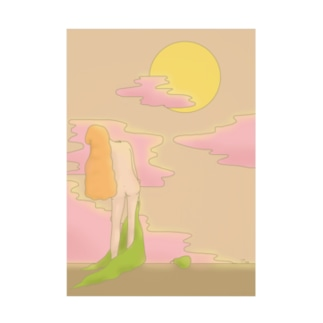 Orange hair girl with moonlight. Stickable poster