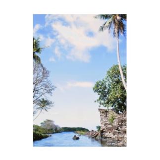 ミクロネシア:ナンマトル遺跡の風景写真 Micronesia: Nan Madol / Pohnpei Stickable poster