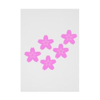 星桜紋(流れ星ピンク) Star cherry blossom Crest (Shooting star pink)) Stickable poster