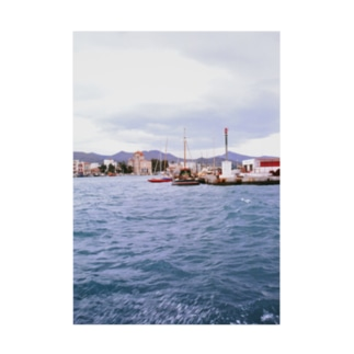 ギリシャ:小型帆船が舫うエギナ島の波止場の風景写真 Greece: Small ships at Egina Is. Stickable poster