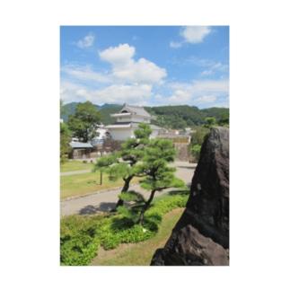 日本の城:甲府城稲荷櫓の風景写真 Japanese castle: Inariyagura of Kofu castle Stickable poster