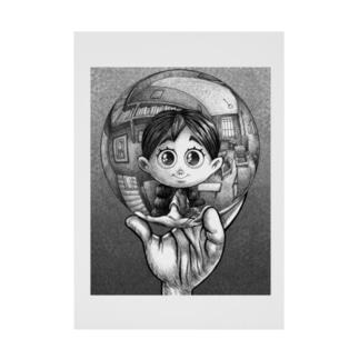 写像球体を持つ森邦子 Stickable poster