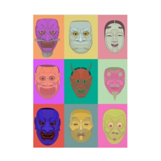 noh mask Stickable poster