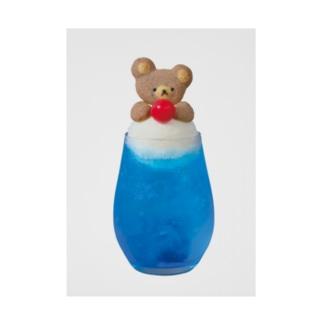 クマのクリームソーダ青色 Stickable poster