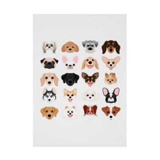 いろいろな犬種のかわいい顔 Stickable poster
