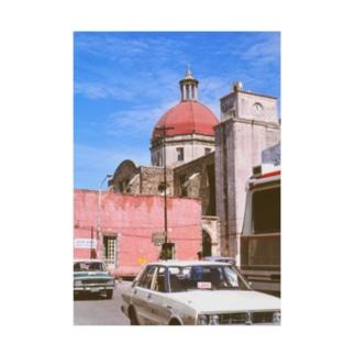 メキシコ:聖母被昇天大聖堂の風景写真 Mexico: view of Catedral de la Asunción de María / : Catedral de Cuernavaca Stickable poster
