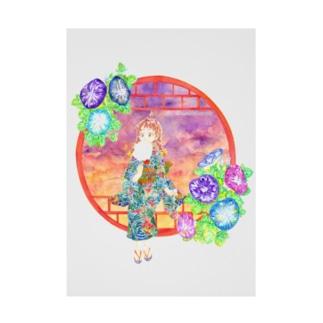 「窓際の夏」夕焼け・朝顔朝顔縁・浴衣の女の子 Stickable poster