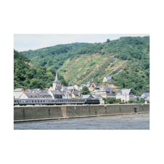 FUCHSGOLDのドイツ:ライン河畔の風景写真 Germany: Riverside view of rhein Stickable posterの横向き