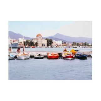 ギリシャ:エギナ島の港の風景写真 Greece: Harbor view of Egina Is. Stickable poster