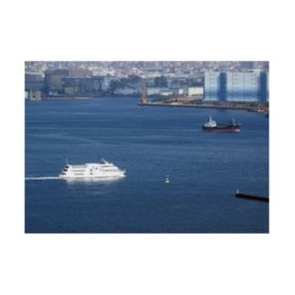 神奈川県:横浜港の風景写真 Kanagawa: view of Yokohama Port  Stickable poster