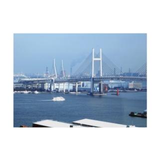 神奈川県:横浜ベイブリッジと観光船 Kanagawa: view of Yokohama Port Stickable poster