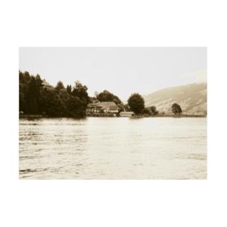 スイス:ルツェルン湖の別荘 Switzerland: House with a boat hut Stickable Poster