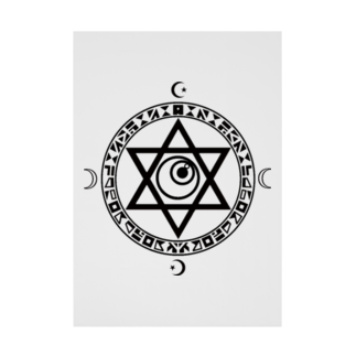 KIKITEKI_LABORATORYの魔法陣×六芒星×目玉 BLACK Stickable tarpaulin