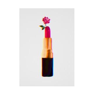 口紅 - pink rose lip - Stickable tarpaulin