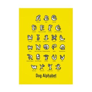 DogAlphabet-yellow Stickable tarpaulin