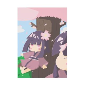 桜と双子 Stickable tarpaulin