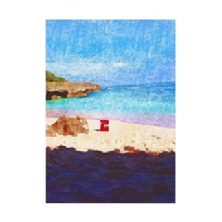 無人の浜辺 Stickable tarpaulin