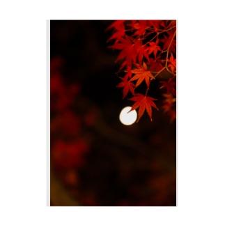 ボケた月と紅葉 Stickable Poster