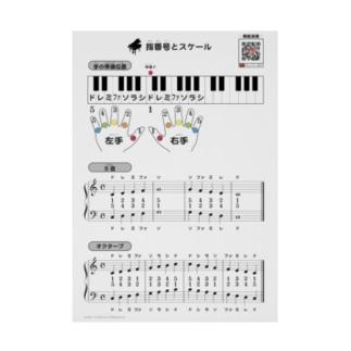 【 ピアノ 教材 】 指番号 と スケール Stickable tarpaulin