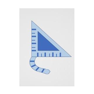 三角定規猫 青しま猫 Stickable tarpaulin