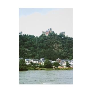 ドイツ:シェーンブルク城が見えるライン川の岸辺の風景写真 Germany: Schönburg am Rhein Stickable poster