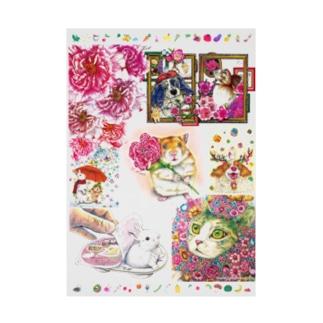 ボールペン画のイラストレーター・白石拓也のボールペン画と可愛い動物 Stickable poster