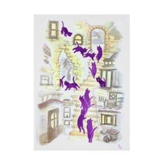 飛ぶ猫 黄昏の街 Stickable poster