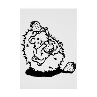 らくがきシリーズ★いちご好きなハリネズミ 吸着ターポリン