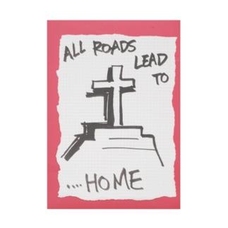 偽諺~弐~「全ての道はホームに通ず」(赤縁) Stickable poster
