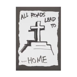 偽諺~弐~「全ての道はホームに通ず」(黒縁) Stickable poster