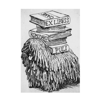 EX-libris  犬の蔵書票 Stickable tarpaulin