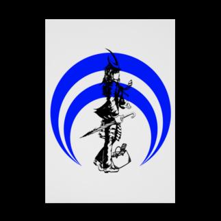 切り絵ariの侍-BLUE Stickable tarpaulin