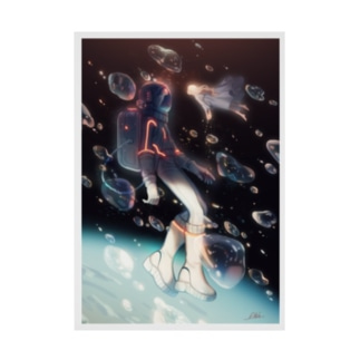 Meet in space Stickable poster