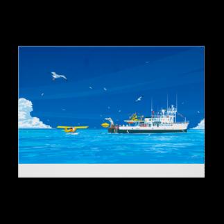 エムニジュウロクの調査船が来た日 Stickable tarpaulinの横向き