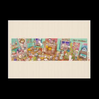 sasabayashi8のハッピーイタチマス! (吸着ポスター) クリスマス フェレット 笹林ぱん太郎 Stickable tarpaulinの横向き