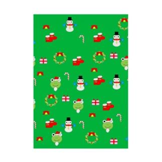 かえるさんのクリスマス(緑) Stickable poster