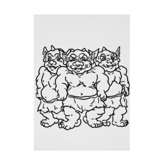 ザコキャラ 『ゴブリントリオ』線画   Stickable tarpaulin