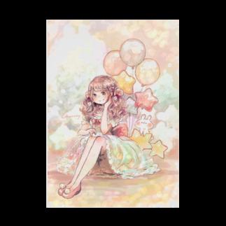 *momochy shop*の風船と女の子+。 Stickable tarpaulin